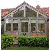 Reclaimed oak framed glazed porch. Billingborough, nr Sleaford, Lincolnshire